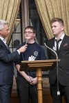 Jonathan Edwards with youngsters from the Newcastle United Foundation