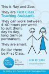 Teaching Assistants, LSA's and Nursery Nurses urgently needed!