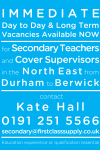 Secondary Teachers and Cover Supervisors – we need you!