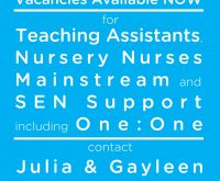 Teaching Assistant?  Nursery Nurse? SEN and/or One:One Support?  We need you!